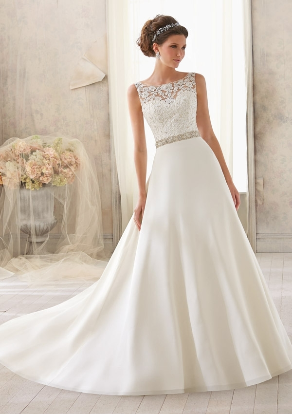 venice lace trimmed with crystal beading on delicate chiffon Mori Lee Blu Wedding Dresses
