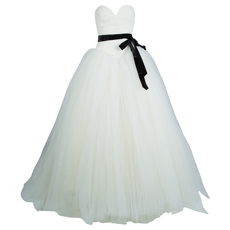 vera wang strapless lace tulle wedding dress s Vera Wang Wedding Dresses s
