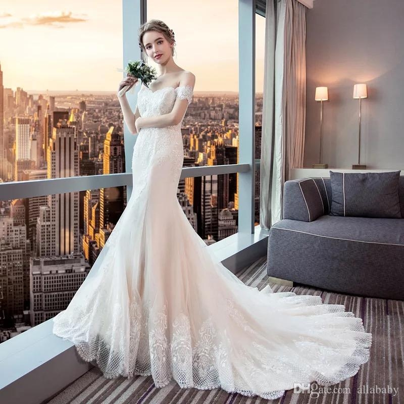 very affordable price off shoulder elegant lace edged wedding dresses for sale fashion trumpet bridal gowns with tail Dh Gates Wedding Dresses