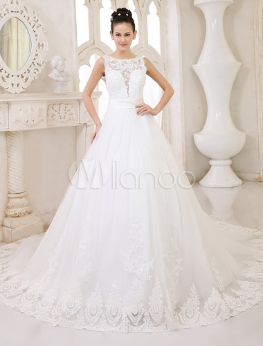 wedding dresses ivory backless bridal gown lace applique ribbon sash illusion chapel train wedding gown milanoo Milanoo Wedding Dress