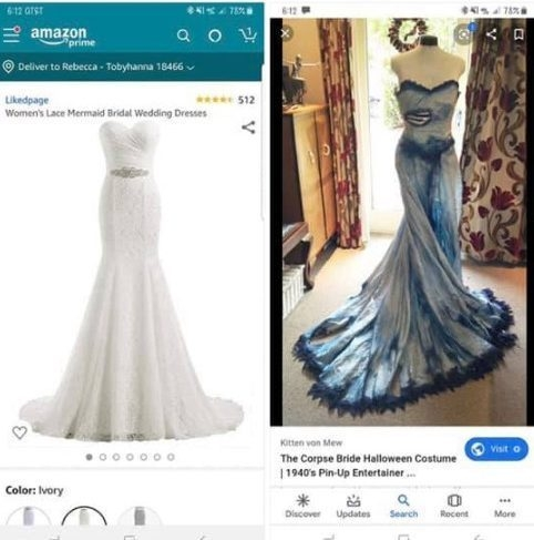 wedding shamers mock bride to be for wanting to dye her Corpse Bride Wedding Dress