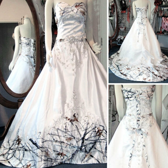 white camo wedding dresses long bridal gowns camouflage sequins appliques custom Snow Camo Wedding Dress