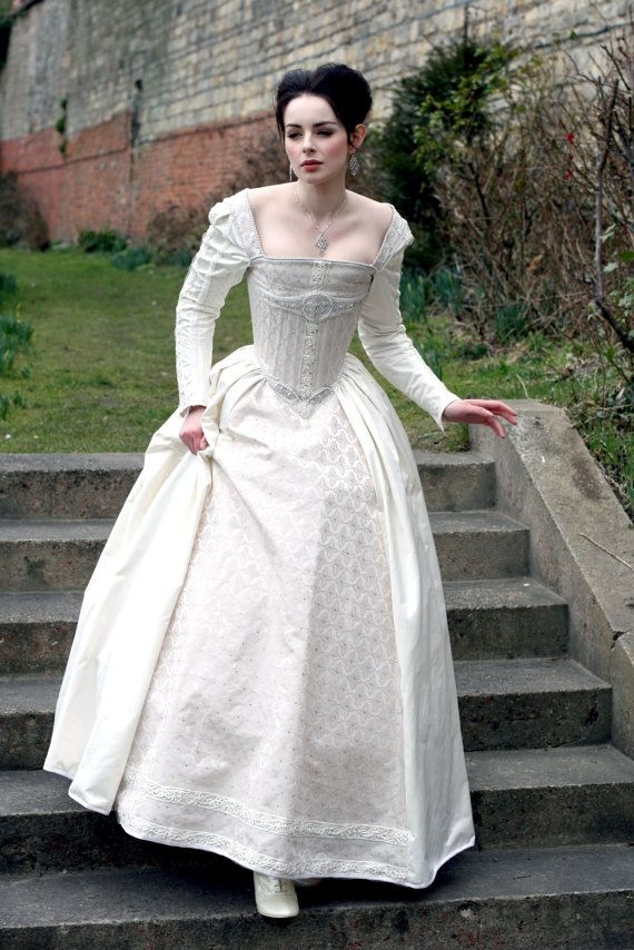 white silk elizabethan gown with 3500 katmarendesigns Elizabethan Wedding Dresses