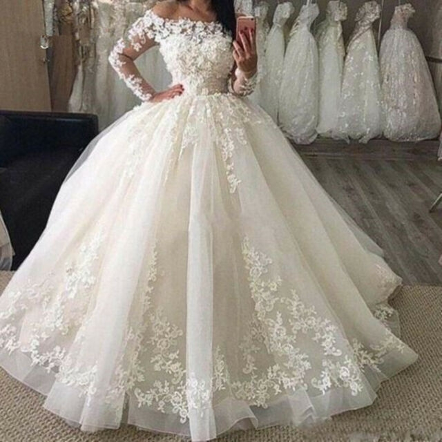 whiteivory long sleeve ball wedding dress 3d floral lace corset new bridal gown Ebay Lace Wedding Dress