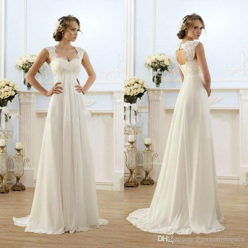 2015 new sexy beach empire plus size maternity wedding dresses cap sleeve keyhole lace up backless chiffon summer pregnant bridal gowns strapless Dhgate.Com Wedding Dress Reviews