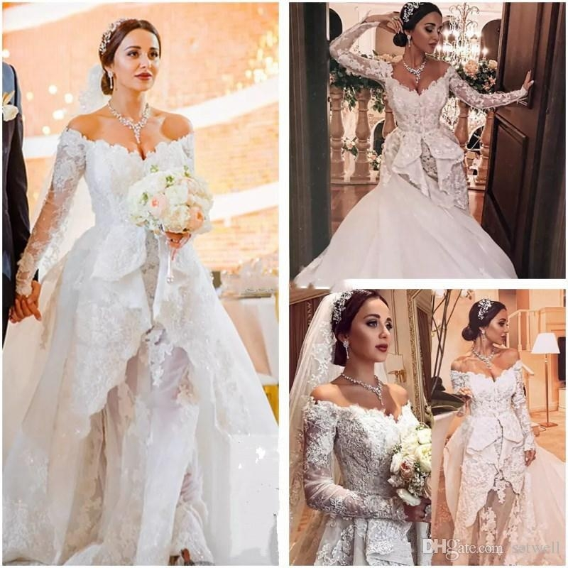 2018 new zuhair murad wedding dresses off shoulder long sleeves vintage appliques lace dubai arabia court train bridal gowns bridal wedding couture Zuhair Murad Wedding Dresses s