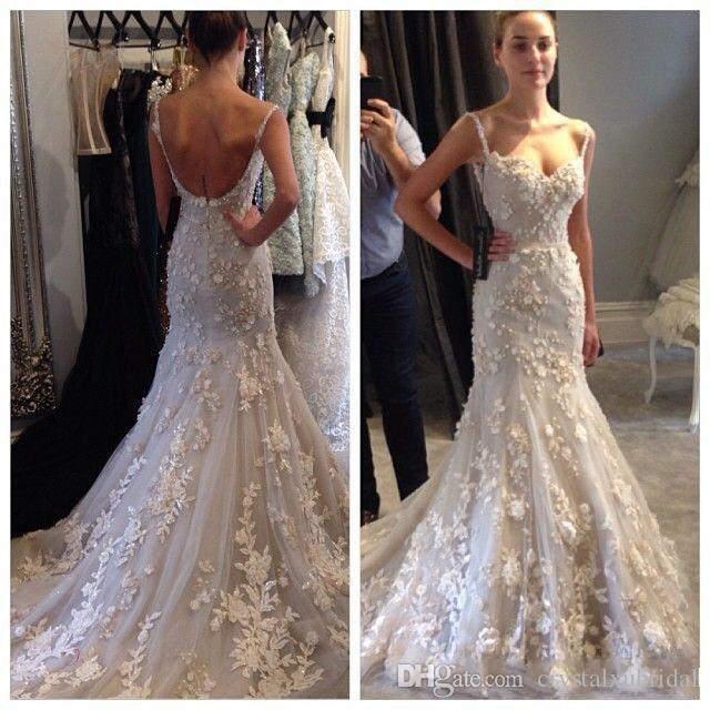 2018 spaghetti straps lace steven khalil wedding dresses 3d flowers mermaid sexy beaded appliques backless court train bridal gowns custom sweetheart Steven Khalil Wedding Dresses For Sale