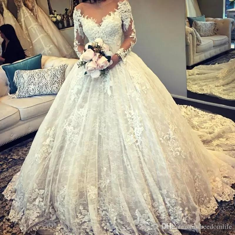 2019 designer ball gown wedding dresses long sleeves sheer neck tulle appliques fitted puffy lace bridal gowns alibaba robes de marie ball wedding Alibaba Wedding Dresses
