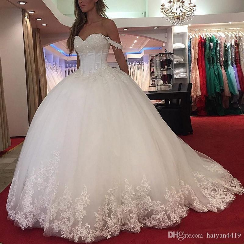 2019 new arabic ball gown wedding dresses sweetheart lace appliques crystal beaded off shoulder puffy vestido plus size formal bridal gowns bridal Buffy Wedding Dress