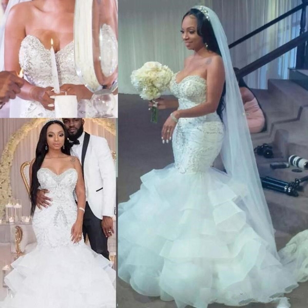 2019 plus size african mermaid wedding dresses sweetheart sleeveless beaded crystal tiered skirts tulle sweep train black girls bridal gowns Dhgate.Com Wedding Dress Reviews