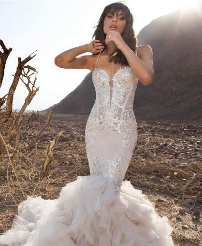2019 pnina tornai mermaid wedding dresses spaghetti backless lace bridal gowns with beads sweep train plus size beach wedding dress designer gowns Wedding Dress Designer Pnina