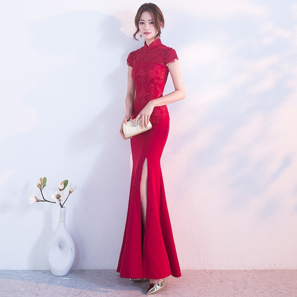 2019 red traditional chinese wedding gown cheongsam long qipao bride traditions classic women dress oriental dresses plus size s 3xl from guocloth Qipao Wedding Dress