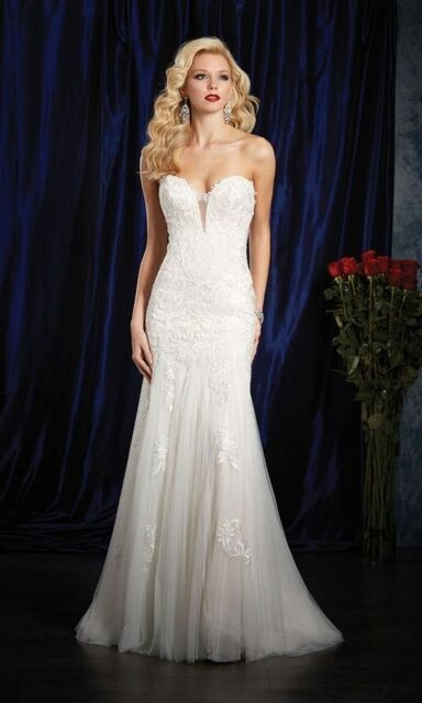 984 alfred angelo sapphire ivorychampagne sz 10 1395 wedding gown dress Alfred Angelo Plus Size Wedding Dresses