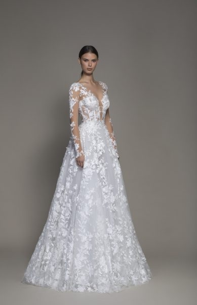 a line long sleeve floral lace wedding dress with plunging v neckline Wedding Dress Designer Pnina