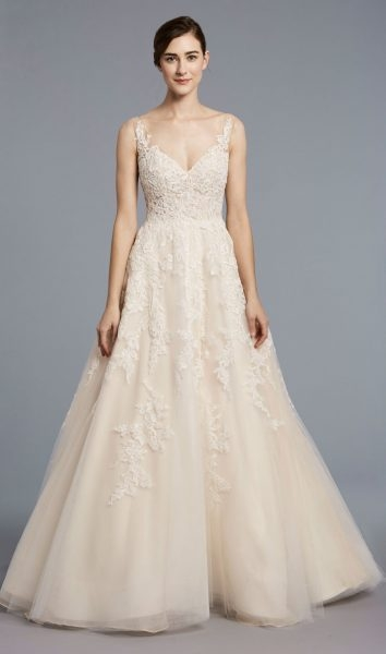 a line tulle v neck wedding dress Anne Barge Wedding Dresses