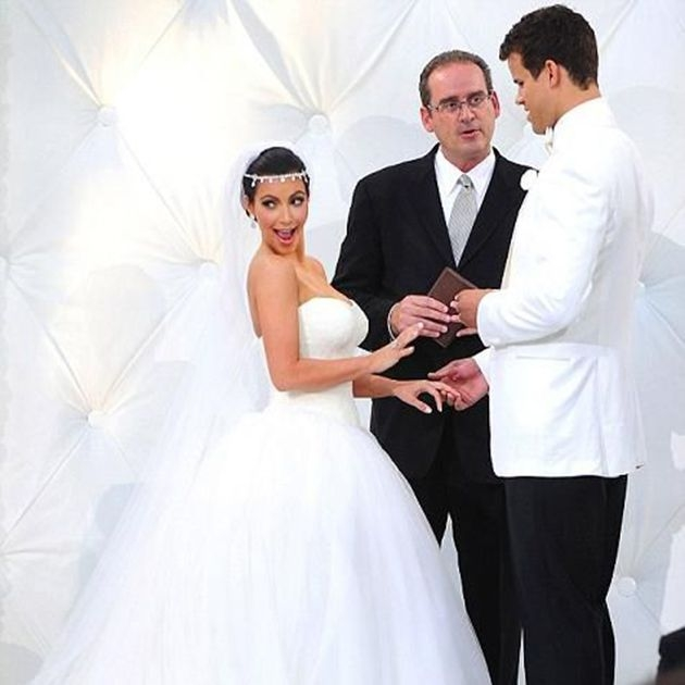 a look back at all of the kardashian weddings in photos Kims Wedding Dress