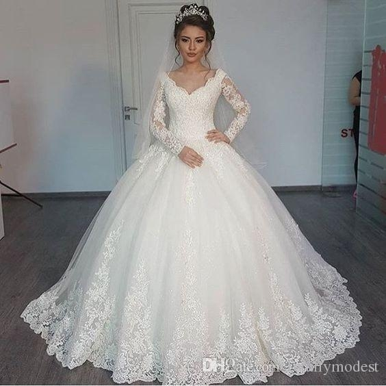 ball gown lace tulle long sleeves modest wedding dresses v neck sheer sleeved lds bridal gowns princess custom made robe de mariee discount wedding Lds Wedding Dress