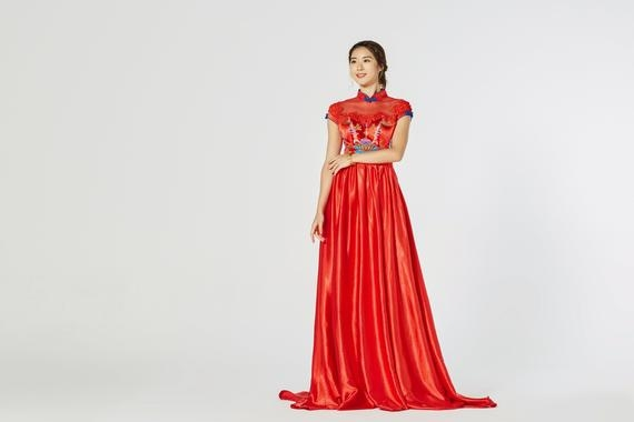 chinese wedding dress modern red cheongsam cheongsam qipao dress traditional qipao dress tea ceremony aline chinese dress Qipao Wedding Dress