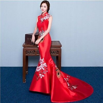 chinese womens qipao wedding dress embroider evening party long dress red new ebay Qipao Wedding Dress