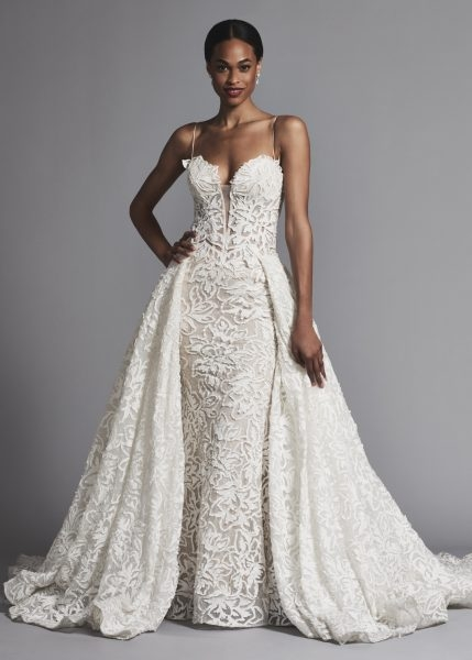 couture and sexy lace sheath wedding dress with dramatic overskirt Pnina Wedding Dresses