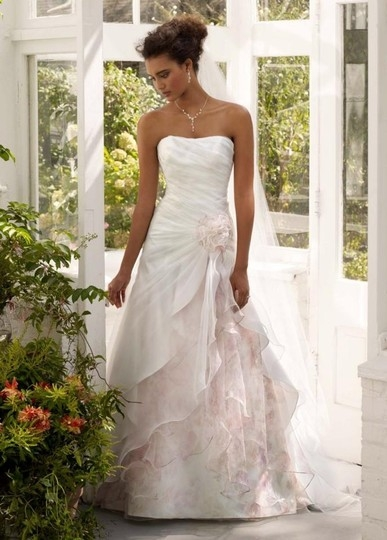 davids bridal soft white pink print organza split front gown with floral inset wedding dress size 8 m 36 off retail Pink Wedding Dress Davids Bridal