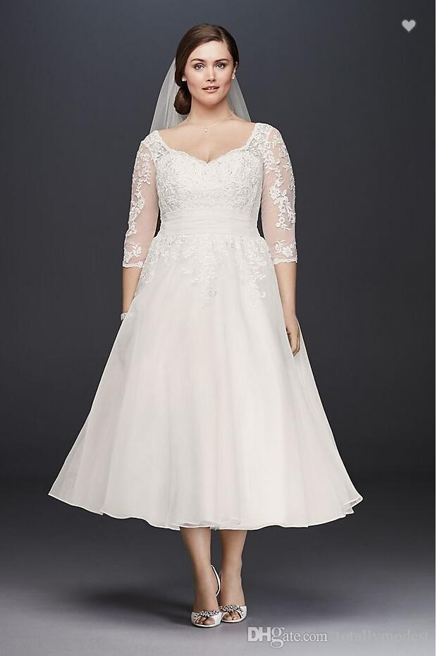 discount vintage tea length plus size short wedding dress with sleeves lace organza a line informal bridal gowns sleeved custom made vintage wedding Informal Wedding Dresses Tea Length