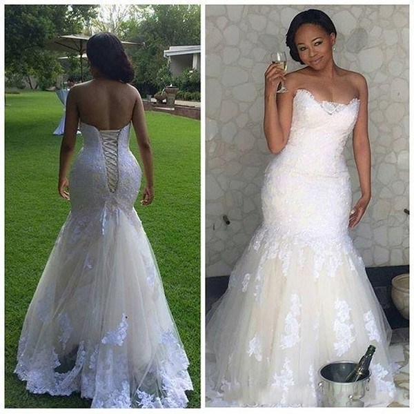 elegant africa lace mermaid wedding dresses 2019 plus size corset back sweetheart bridal gowns vestidos de novia kate middleton wedding dress sexy Plus Size Undergarments For Wedding Dresses