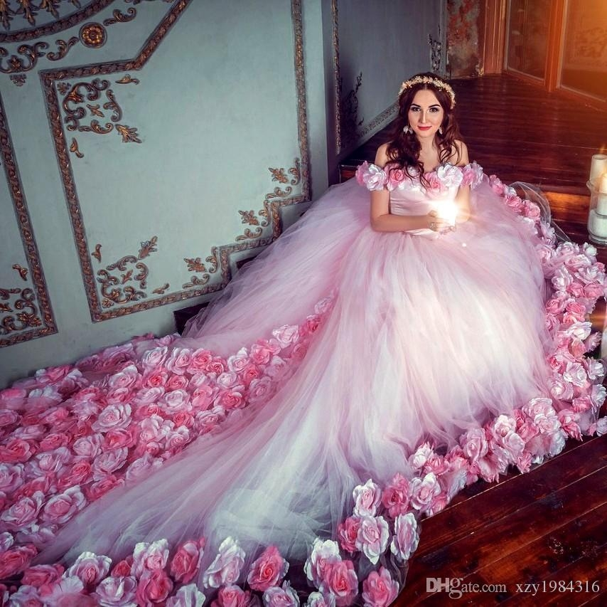 fairy tale floral ball gown wedding dresses with 3d hand made flowers glamorous off shoulder lace up wedding gowns cheap tulle bridal dress gown dress Fairy Tail Wedding Dresses