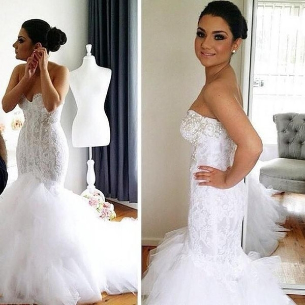 fashion mermaid wedding dresses sexy sweetheart backless formal bridal gowns spring lace appliques court train brides dress elegant sexiest mermaid Dhgate.Com Wedding Dress Reviews