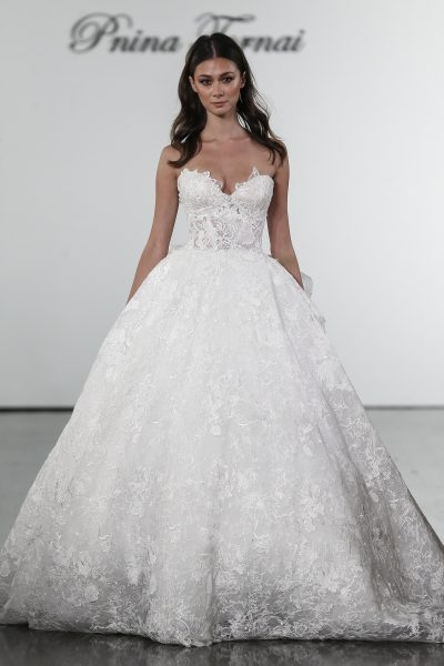 floral lace sweetheart ball gown wedding dress Pnina Wedding Dresses