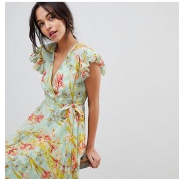 floral maxi bridesmaid wedding guest dress mint nwt Asos Wedding Guest Dresses