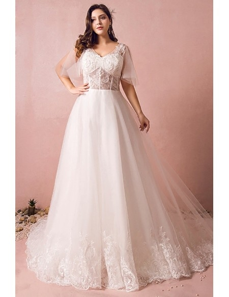 flowy plus size a line lace wedding dress tulle corset with long train mn8028 gemgrace Plus Size Undergarments For Wedding Dresses