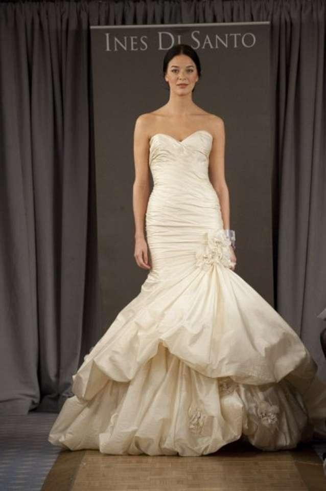 ines di santo antique ivory silk organza campania feminine wedding dress size 0 xs 71 off retail Ines Di Santo Wedding Dress
