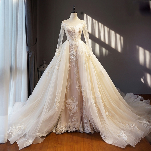 light champagne ivory real image wedding dress long removable train hem appliques long sleeves saudi arabia formal brides gowns cotton wedding dress Dhgate.Com Wedding Dress Reviews