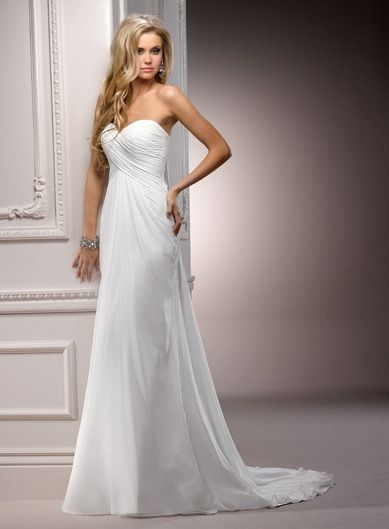 maggie sottero ivory ruched chiffon strapless destination Maggie Sottero Destination Wedding Dress