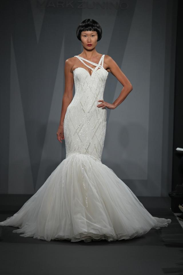 mark zunino off white silk and tulle asymmetric mermaid gown in beaded lace feminine wedding dress size 8 m 42 off retail Mark Zunino Wedding Dresses