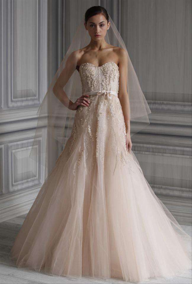 monique lhuillier blush tulle candy traditional wedding dress size 2 xs 55 off retail Pretty Of Monique Lhuillier Wedding Dresses
