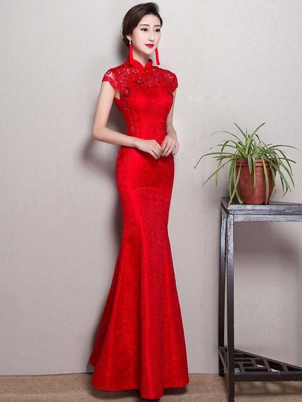 red fishtail qipao cheongsam wedding dress cheongsam Qipao Wedding Dress