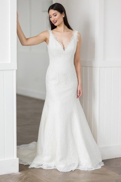 romantic fit and flare wedding dress Augusta Jones Wedding Dresses
