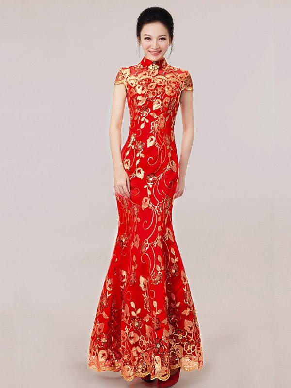 shop red ankle length sequined fishtail cheongsam qipao Qipao Wedding Dress
