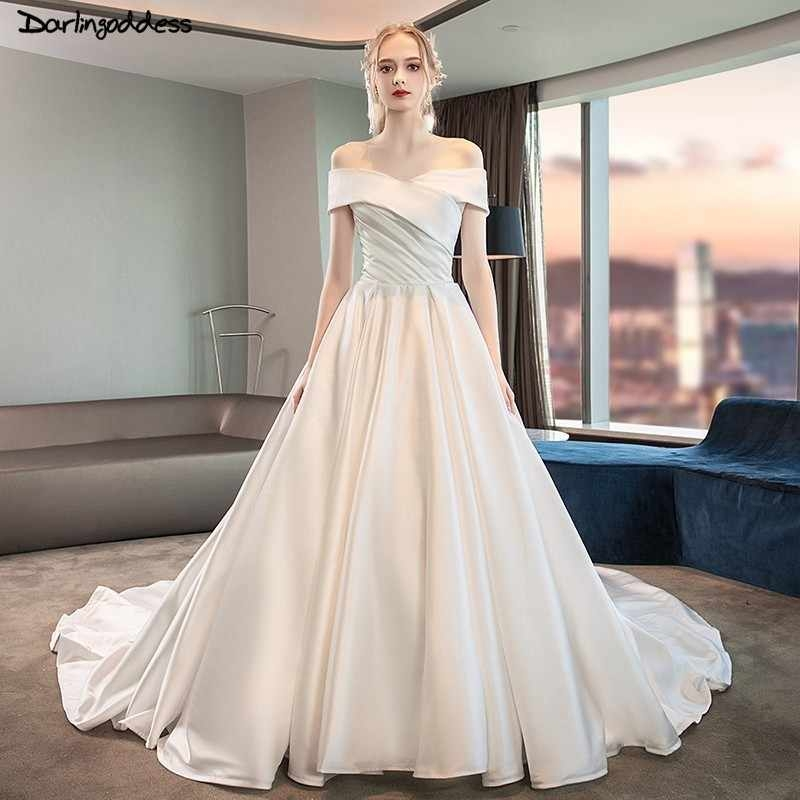 simple a line stain wedding dress 2018 short sleeve long train wedding dresses plus size corset wedding gowns real photos Plus Size Undergarments For Wedding Dresses