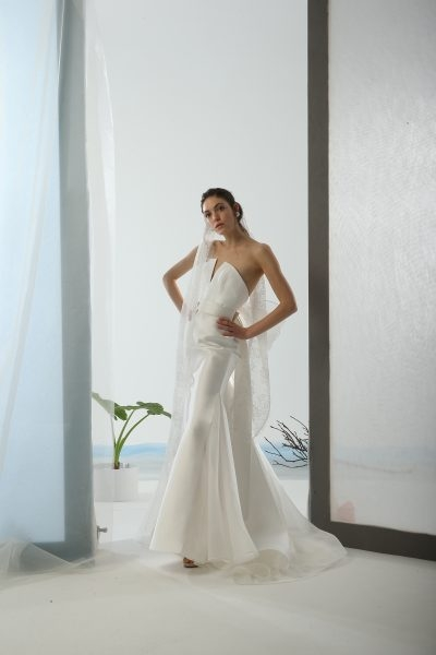 strapless simple fit and flare wedding dress Le Spose Di Gio Wedding Dress