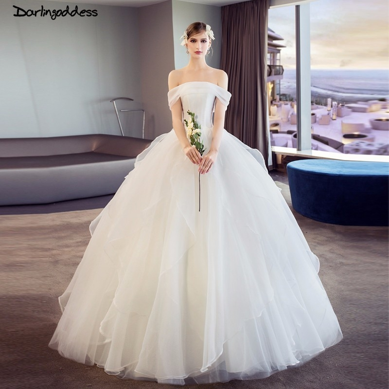 us 1168 35 offluxury princess wedding dress plus size ruffles off shoulder wedding gowns 2018 corset simple satin wedding dress elegant in wedding Plus Size Undergarments For Wedding Dresses