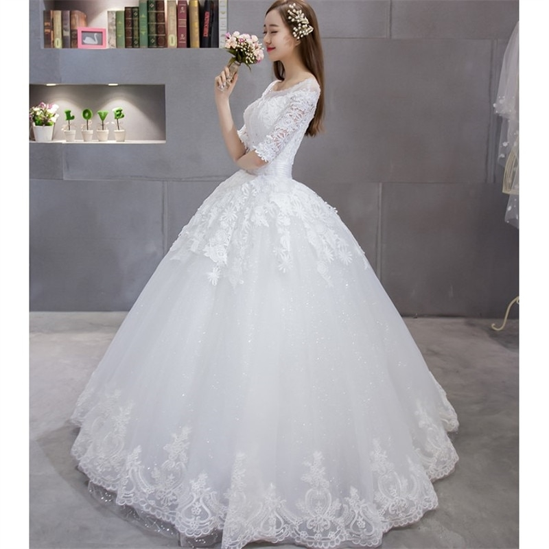 us 1345 lace up ball gown quality wedding dresses 2017 plus size bridal alibaba wedding dress real photo free shipping tk865 dhl in wedding Alibaba Wedding Dresses