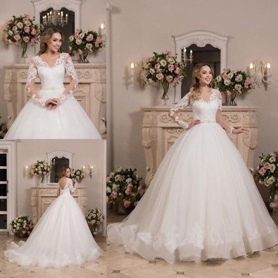 wedding dresses long sleeves open back bridal ball gown plus size lace up corset ebay Plus Size Undergarments For Wedding Dresses