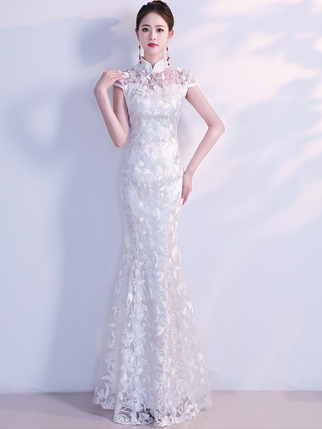 white lace fishtail qipao cheongsam wedding dress Qipao Wedding Dress
