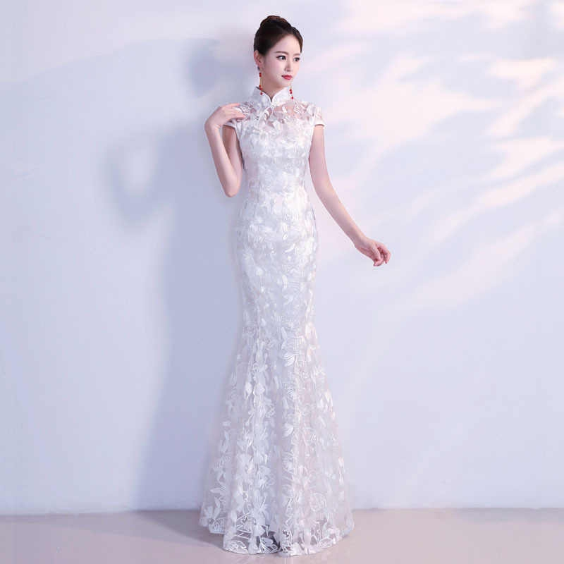 white traditional chinese wedding dress sexy qipao mermaid cheongsam evening gown lace modern oriental dresses elegant qi pao Qipao Wedding Dress