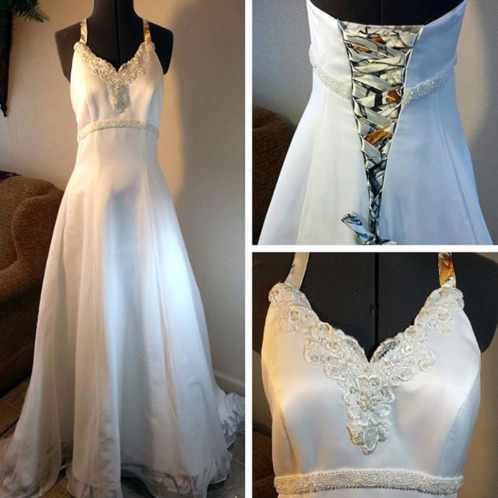 you had me at camo wedding gown with white camo trim A Touch Of Camo Wedding Dresses