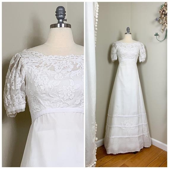 1960s vintage off white lace organza wedding dress vintage wedding dress lace and organza wedding dress with velvet trim Vintage Wedding Dresses Portland