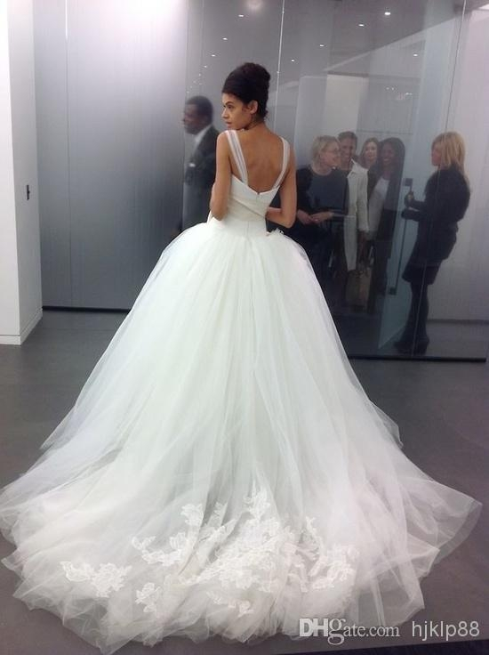 2014 custom made tulle big poofy ball gown wedding dresses Big Poofy Wedding Dress